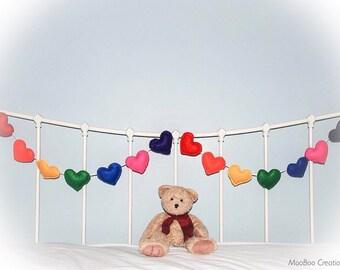 Heart Garland - rainbow heart garland - felt garland - rainbow heart garland - bunting - 14 felt hearts - child decor - READY NOW