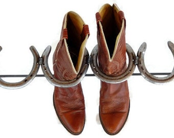 Rustic Horseshoe Boot Rack