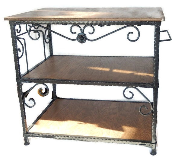 Items Similar To Handcrafted Wrought Iron Kitchen Island With Open Shelves  On Etsy