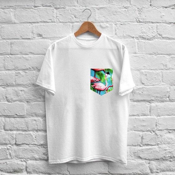 Unisex custom sewn tropical flamingo birds pocket t shirt for Custom t shirt with pocket