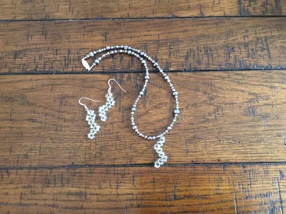 Freshwater Pearls and Swarovski crystal pendant, sterling silver earrings