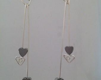 Silver hearts Hematite earrings