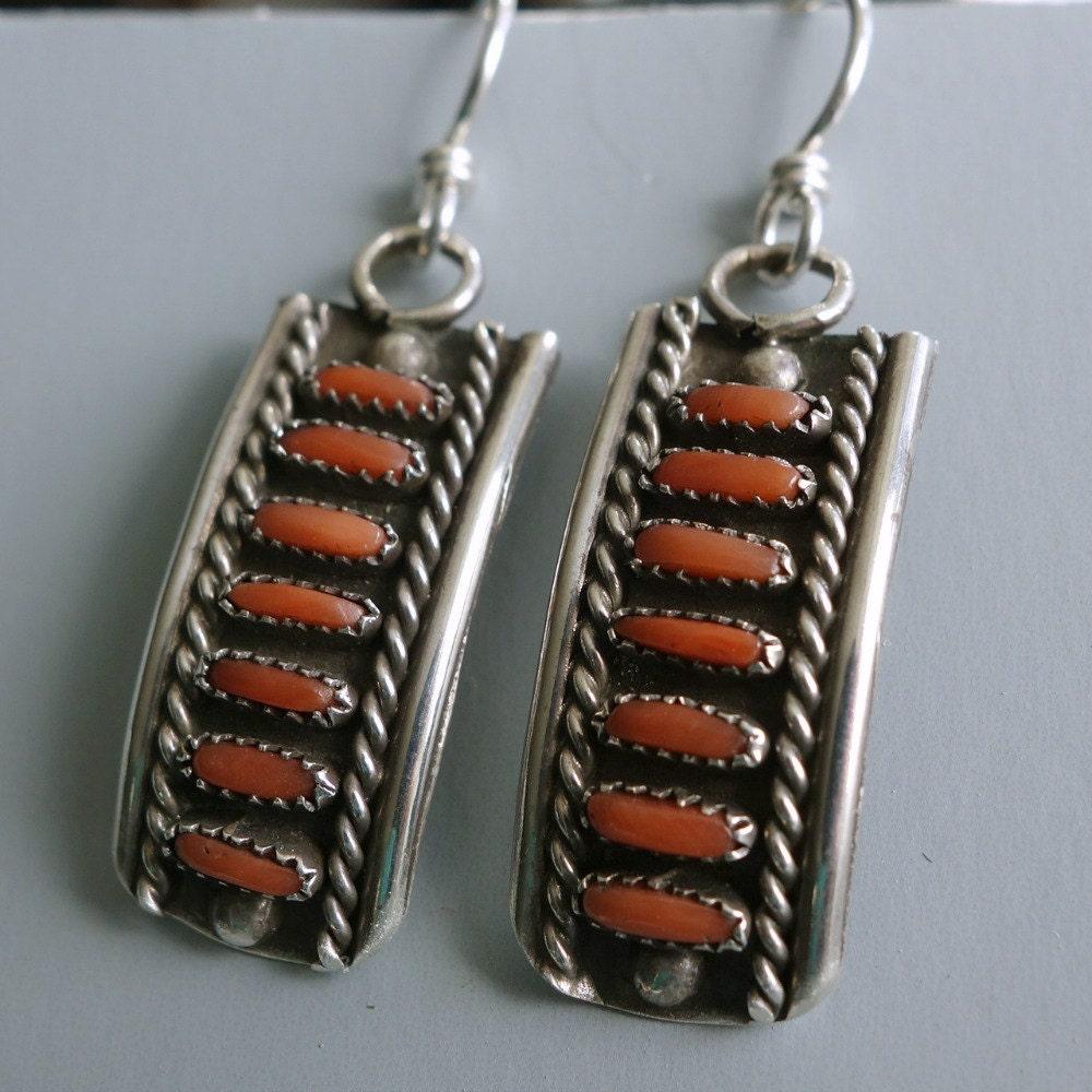 Zuni Earrings: Coral Petit Point Zuni Sterling Earrings