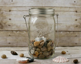 Large Mason Jar Lantern with Stones and Candle - Patio Lantern - Garden Light - Wedding Decor - Hanging Lantern - Outdoor Lighting