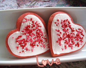 Mother's Day gift/ birthday cookies ---Homemd pink Heart Vanilla Sugar Cookies with sprinkles- ---Royal icing decorated cookies--one dozen