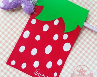 10 pcs Strawberry Cute Self Adhesive Cookies Jewelry Packing Bags Gift Wrapping Bags ~Y156