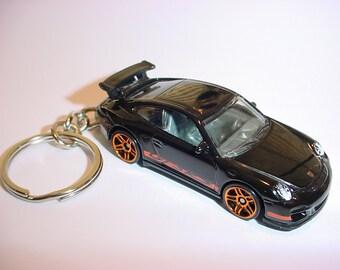 New 3D Black Porsche 911 GT3 Custom Keychain keyring key chain diescast metal