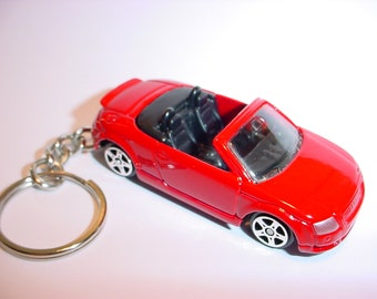 3D Audi TT convertible custom keychain by Brian Thornton keyring key chain finished in red color trim diecast metal body