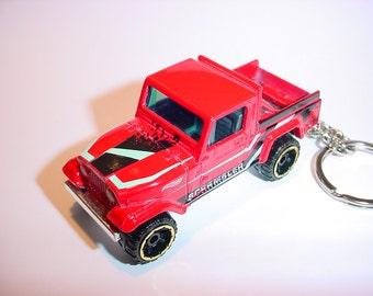 3D Jeep Scrambler custom keychain by Brian Thornton keyring key chain finished in red racing trim