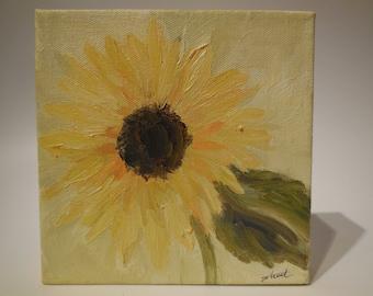 Original Oil Painting Sunflower on 6x6  Box Canvas