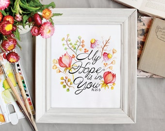 Christian Inspirational Wall Art With My Hope Is In You