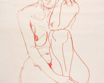 Art print - seated female - gesture figure drawing from life