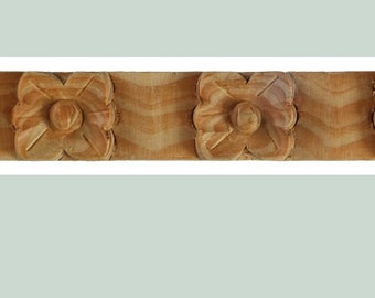Pretty flower strip molding, hand carved, 40 inches long