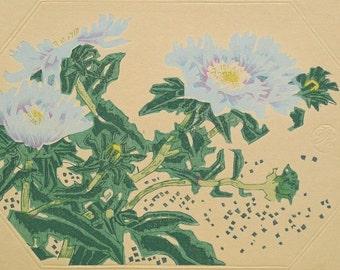 "Ukiyoe, Original Sōsaku-hanga, Woodblock print, antique, Eichi Kotozuka, ""Stokesia"""