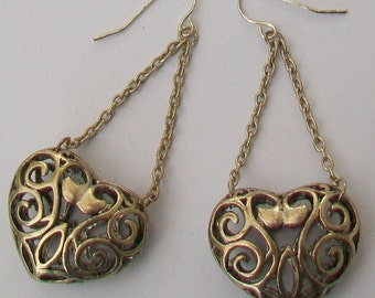 Filigree Silver Tone Hearts & Chains Earrings