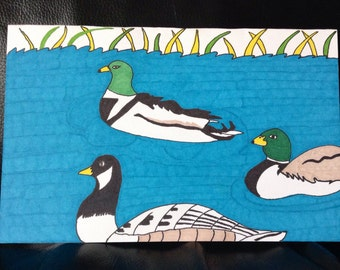 Ducks in the Pond HandPainted Greeting Card