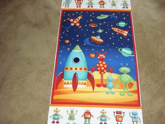 Rockets space quilt panels aliens and rockets from space for Space fabric quilt