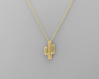 Tiny Gold Cactus Necklace