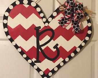 Door Hanger - Wood Cut Out - Heart. Valentine's Day. This adorable Heart can be changed to better meet your style!