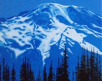 Rainier, Mount Rainier, Mountain painting, Landscape, Northwest, Pacific Northwest, monochrome landscape, acrylic painting