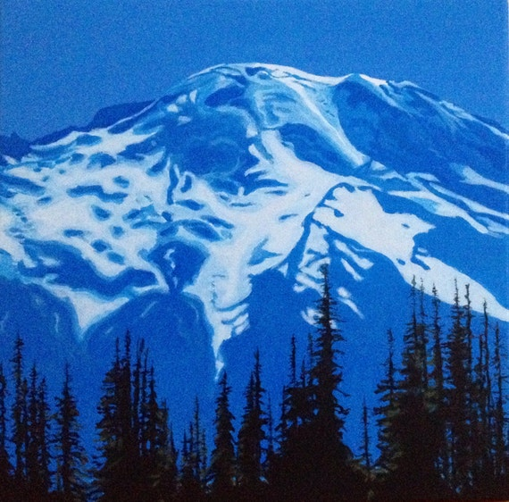 Rainier, Mount Rainier, Mountain painting, Landscape, Northwest, Pacific Northwest, monochrome landscape, acrylic painting
