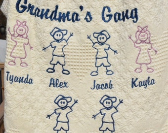 Grandparent's Stick Figure Throw