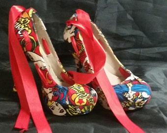 "Lunique Customized ""RED"" WONDERWOMAN superhero  heels"