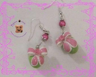 Earrings in fimo green Easter egg