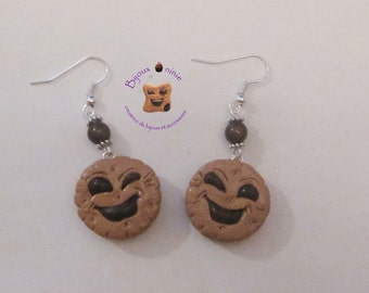 Earrings bn biscuit round chocola in fimo