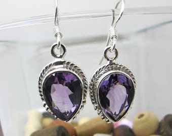 Amethyst Earrings, Sterling Silver Earrings, Gemstone Earrings