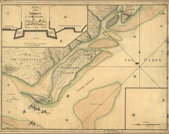 24x36 Poster; Map Fort Sulivan Charleston South Carolina P1