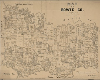 24x36 Poster; Map Of Bowie County, Texas 1879