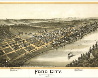 24x36 Poster; Map Of Ford City Pennsylvania, 1896