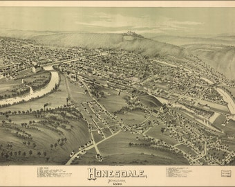 24x36 Poster; Map Of Honesdale, Pennsylvania 1890