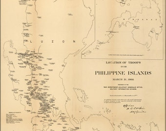 24x36 Poster; Map Of Location Of Troops In Philippines 1900