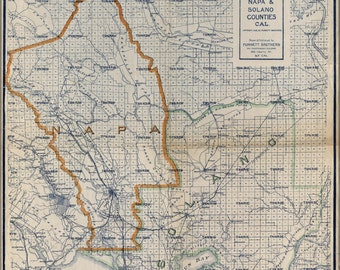 24x36 Poster; Map Of Napa & Solano Counties California 1908