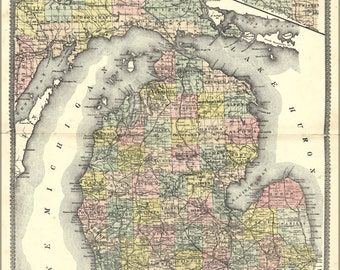 24x36 Poster; 1895 Map Of Michigan