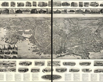 24x36 Poster; Aero View Map Of New London, Connecticut 1911