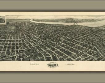 24x36 Poster; Aero View Map Of Tulsa, Oklahoma 1918