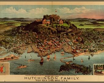 24x36 Poster; Birdseye View Map Of Lynn Massachusetts 1881