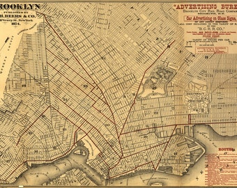 24x36 Poster; Map Of Brooklyn 1874
