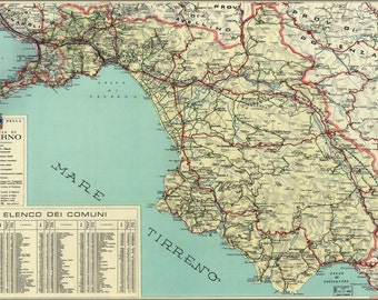 24x36 Poster; Map Of Salerno Italy 1966