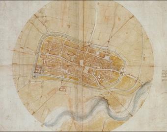 24x36 Poster; Plan Map Of Imola, Italy By Leonardo Da Vinci C1502