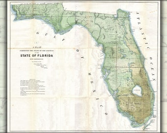 24x36 Poster; 1853 Land Office Plat Map Of Florida