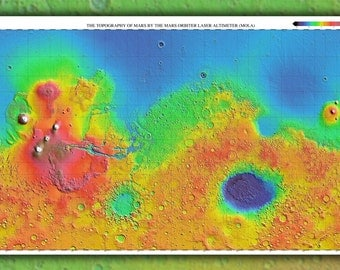 24x36 Poster; Mars Topography Map 3