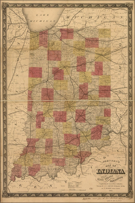 24x36 Poster Johnson Map Of Indiana Railroads Amp Townships