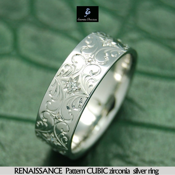 Renaissance Pattern Cubic Silver Ring Hand Engraved Band
