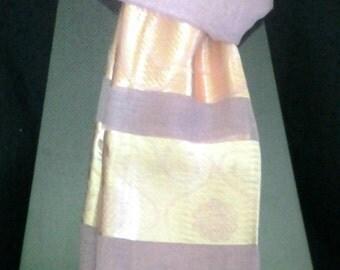 Hand-woven Raw Silk Shawl (Pink)