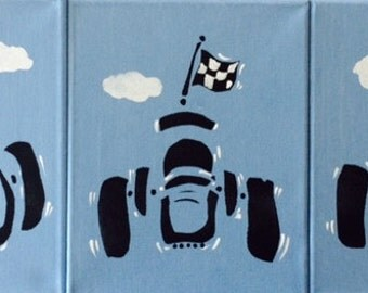 Set of 3 Original Art Canvases, Boys Room, Boys Room Art, Race Car Art, Childrens Wall Art, Kids Rooms, Playroom Ideas, Baby Gifts