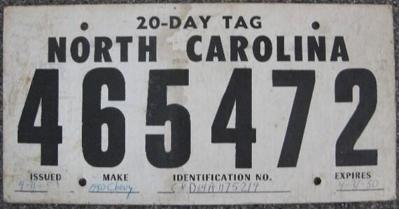 Items Similar To Rare Cardboard North Carolina Temporary